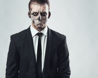 Portrait evil  businessman makeup skeleton Stock Image