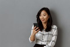 portrait of excited asian businesswoman royalty free stock photography