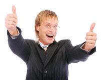 Portrait of a excited business man Stock Images