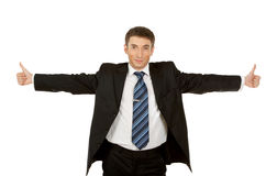 Portrait of a excited business man. Showing a success sign, isolated on white background Stock Photography