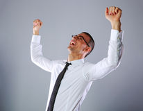 Portrait of a excited businessman Royalty Free Stock Photo