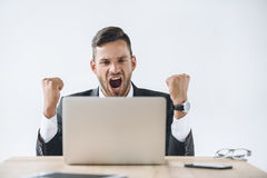 Portrait of excited businessman looking at laptop screen at workplace Royalty Free Stock Image