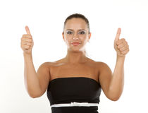 Portrait of a excited businesswoman. Showing a success sign Stock Images