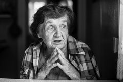 Portrait of excited elderly woman. Stock Photo