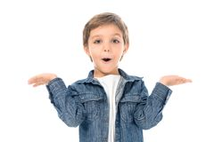 Portrait of excited little boy with outstretched arms looking at camera. Isolated on white royalty free stock photography