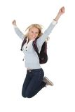 Portrait of excited student girl. Isolated on white Stock Photography