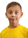 Portrait of excited surprised small boy Stock Photos