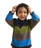 Portrait of an Excited Toddler Pulling his Hair. Isolated on white stock photos