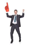 Portrait Of Excited Young Businessman. Isolated on white Royalty Free Stock Image