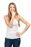 Portrait of excited young woman stock images