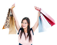 Happy Young Woman Shopper Stock Photos