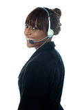 Portrait of executive female in headsets Royalty Free Stock Images