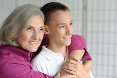Portrait of exited grandmother and grandson Royalty Free Stock Photo