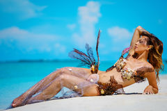 Portrait of exotic fantasy mermaid on the beach Royalty Free Stock Photo