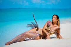 Portrait of exotic fantasy mermaid on the beach Stock Photography