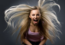 Portrait of expression young woman stock photo