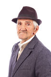 Portrait of an expressive old man with hat Stock Photo