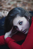 Portrait of exquisite beautiful young girl in a red blouse. Beau Stock Photography