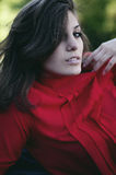 Portrait of exquisite beautiful young girl in a red blouse. Beau Royalty Free Stock Photography