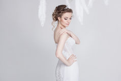 Portrait of exquisite and dreamy young bride in luxurious lace wedding dress. Stock Photos