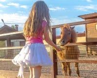 Portrait extérieur de jeune cheval de alimentation de sourire de fille d'enfant sur le fa Image libre de droits