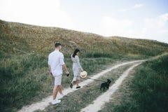 Portrait extérieur de marcher de jeunes couples enceintes dans le domaine photo libre de droits