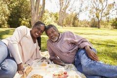Portrait extérieur des couples mûrs appréciant le pique-nique en parc Photo libre de droits