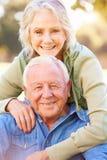 Portrait extérieur des couples supérieurs affectueux image libre de droits