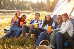 Portrait Of Extended Family Group Camping By Lake royalty free stock photo