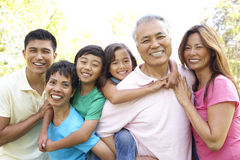 Portrait Of Extended Family Group In Park. Portrait Of Extended Asian Family Group In Park Smiling Royalty Free Stock Images