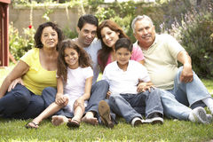 Portrait Of Extended Family Group In Park. Portrait Of Extended Hispanic Family Group In Park stock photos