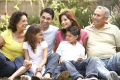 Portrait Of Extended Family Group In Park. Portrait Of Extended Hispanic Family Group In Park royalty free stock photo