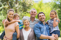 Portrait of an extended family at park Stock Photography