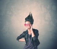 Portrait extrême de jeune femme de coiffure image libre de droits