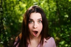 Portrait of extremely surprised,stunned woman with emotive open royalty free stock images