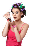 Portrait of an eyelashes painter girl Royalty Free Stock Photo