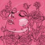 Portrait féerique dans les roses de floraison illustration de vecteur