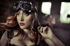 Portrait of the fabulous airwoman Royalty Free Stock Image