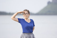 Portrait face of asian woman confident acting on location Royalty Free Stock Images