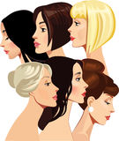 Portrait of face beautiful girls in profile. Vector illustration of portrait of face beautiful girls in profile Royalty Free Stock Images