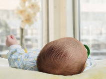 Portrait of face funny caucasian newborn toddler baby boy Royalty Free Stock Photography