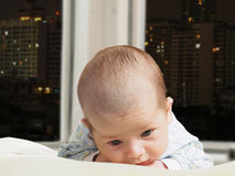 Portrait of face funny caucasian newborn toddler baby boy Royalty Free Stock Images