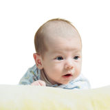 Portrait of face funny caucasian newborn toddler baby boy isolated on white Stock Photos