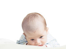 Portrait of face funny caucasian newborn toddler baby boy isolated on white Royalty Free Stock Photo
