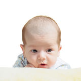 Portrait of face funny caucasian newborn toddler baby boy isolated on white Royalty Free Stock Photography