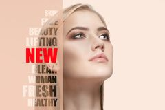 Portrait of young, healthy and beautiful woman. Plastic surgery, medicine, spa, cosmetics and visage concept stock photos