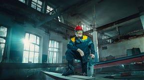 Portrait senior welder worker on manufacture workshop background Royalty Free Stock Photography