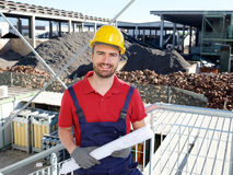 Portrait of factory worker on building site Stock Photo