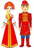 Portrait of a family in ancient Russian clothes. Fairy tale character. Full growth. Vector illustration isolated on a white background Royalty Free Stock Images