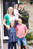Portrait Of Family With Army Father Home On Leave stock photo